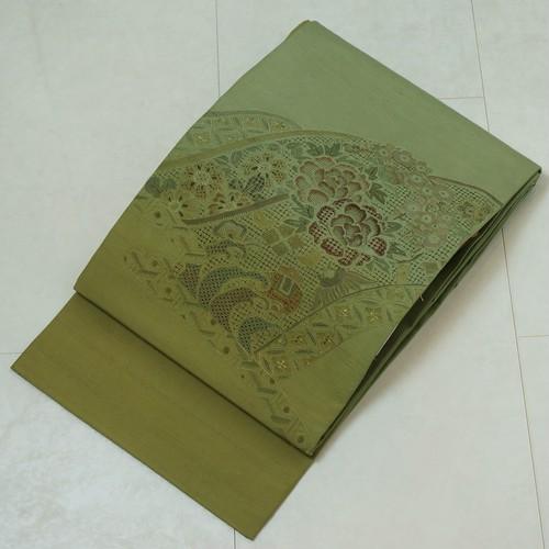 汕頭 相良刺繍 真綿紬 洒落袋帯 柳茶 梅幸茶 緑 黄緑 186