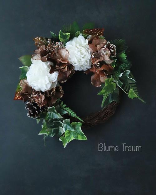 ★Blume Traum★クリスマスリースno,4、送料無料、アーティフィシャルフラワー、お祝い、お歳暮にも!