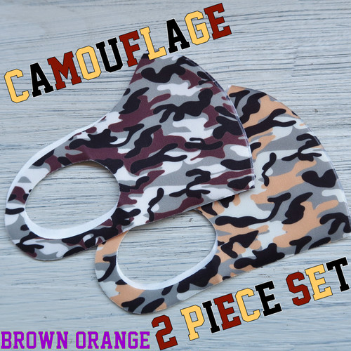 The Delight shop SELECT camouflage samless MASK 3pieceSET(迷彩 シームレス マスク 2色セット)ブラウン&オレンジ