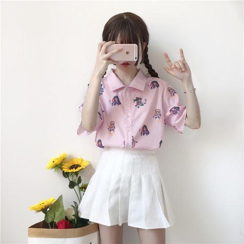 【トップス】学園風清新キュート春夏プリントPOLOネック半袖シャツ