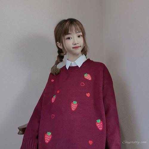 【トップス】2019新作スウィート学園風フルーツストロベリープリントニットセーター