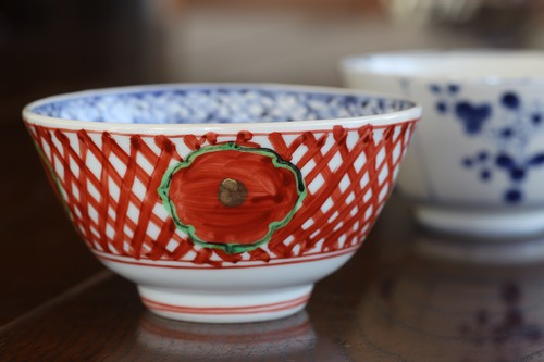松尾貞一郎 赤絵地紋 飯碗 貞土窯(有田焼)191217-K7