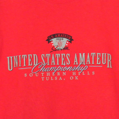 USA古着プリントTシャツL赤UNITED STATES AMATEUR片面 綿100美品53