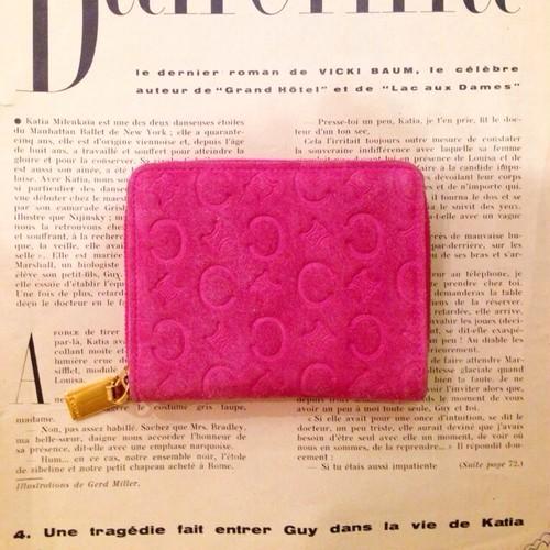 CELINE pink suede coin case