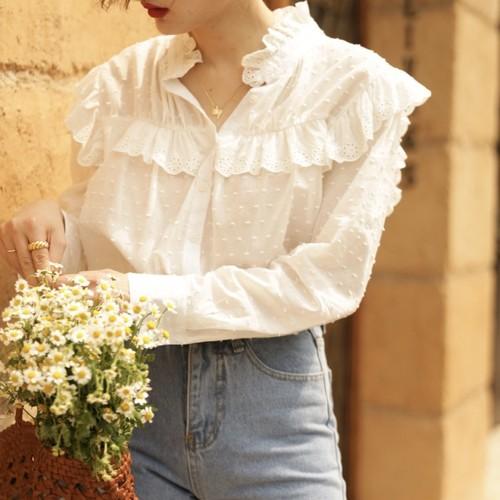 dot pattern décolleté line frill blouse