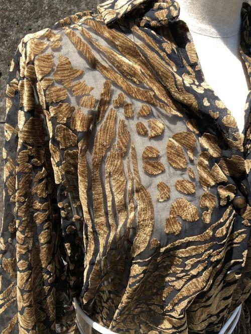 leopard flocky sheer shirt
