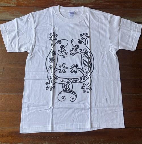 Tシャツ☆コットン素材☆ホワイト☆やもり