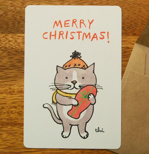 クリスマスグリーティングカード「プレゼント魚」封筒付
