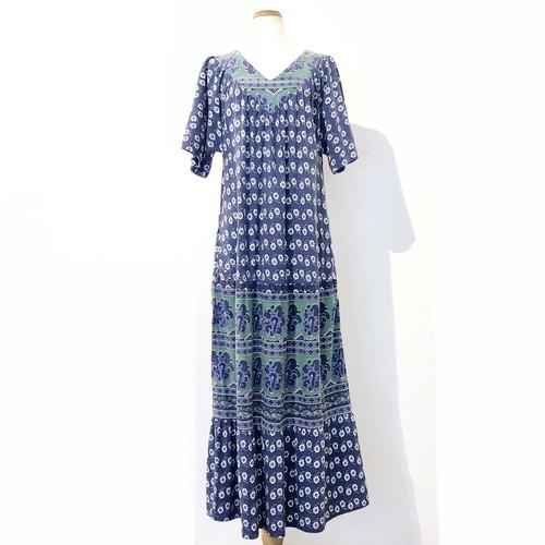 Blue Green Floral Print Cotton Maxi Tent Dress / ブルー花柄インド綿マキシワンピース