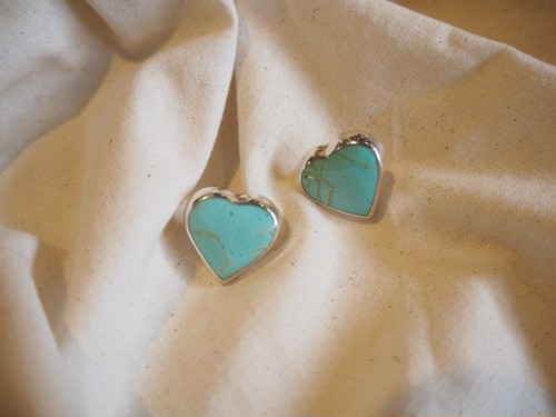 <vintage silver925>heart turquoise mexican pierce