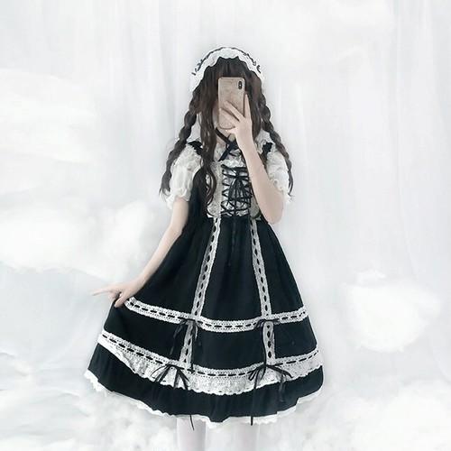 【ワンピース】lolitaレトロスウィートキュートレースボウタイワンピース