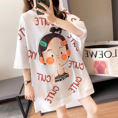 【tops】元気いっぱいカートゥーンカジュアル文字プリントTシャツゆったり3色