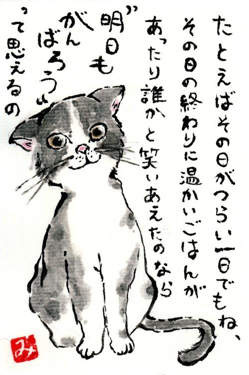 絵葉書(前向きな猫)