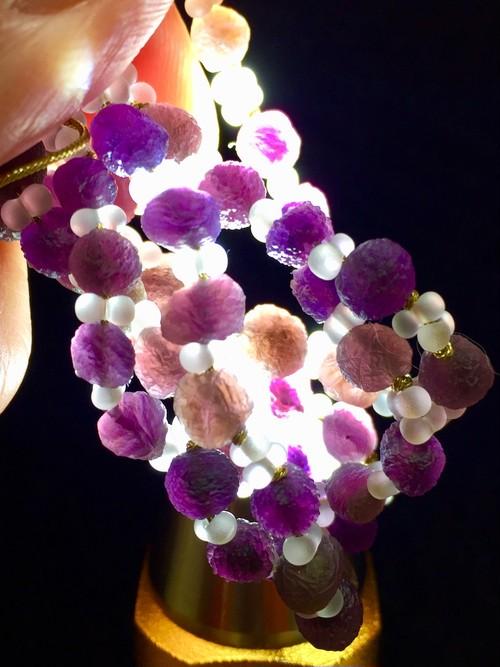 8) 紫ゴビアゲート「卑弥呼」ミニビーズ・ネックレス