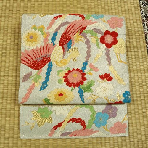 銀糸に鳳凰と草花 アンティーク袋帯