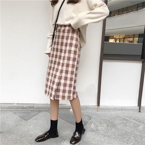 【送料無料】チェック柄タイトスカート♡ ひざ丈 スリット Iライン