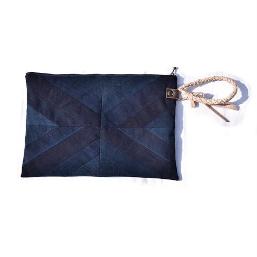 【受注生産】藍染 袴リメイク パネル クラッチ バッグ JAPANESE Indigo Hakama Remake Panel Clutch Bag 001