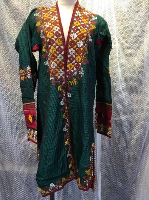 トルクメンブハラ シルクチャパン(緑) Turkmen Bukhara Silk Chapan(green)