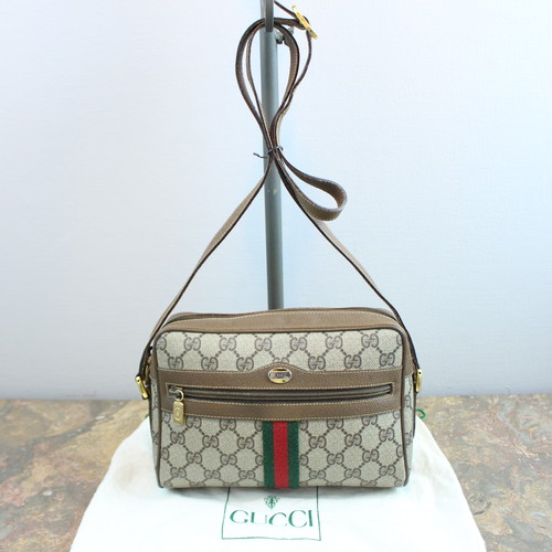 .OLD GUCCI GG PATTERNED SHERRY LINE SHOULDER BAG MADE IN ITALY/オールドグッチGG柄シェリーラインショルダーバッグ 2000000034225