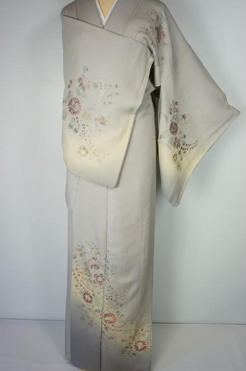 辻が花 汕頭刺繍 トールサイズ 訪問着 正絹 紫 グレー 457