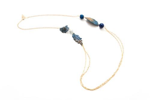 漆レース天然石ネックレス(青系)