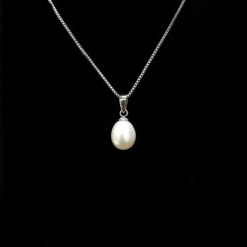 淡水パール 一粒ネックレス シルバー925 しずく型 ホワイト 華奢 上品 シンプル