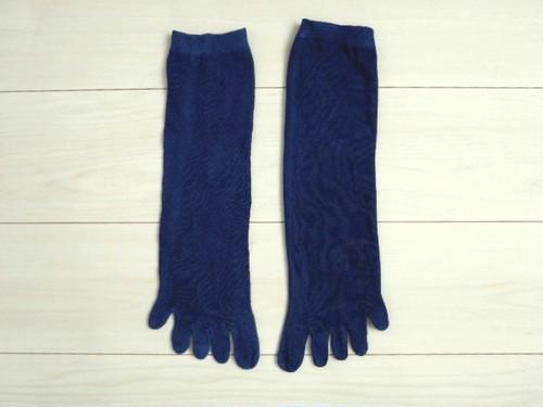 ◆100%自然素材 天然灰汁発酵建て 本藍染◆ オーガニックコットン 5本指 リラックス靴下