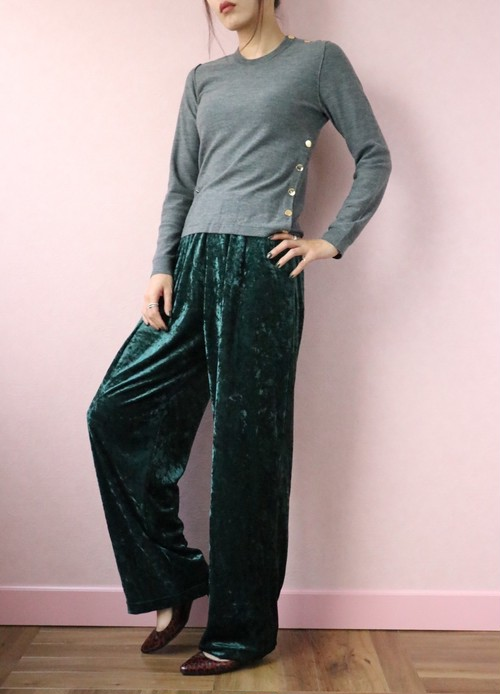 green velour easy pants