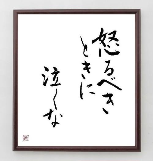 名言色紙『怒るべきときに、泣くな』額付き/直筆済み/A0169