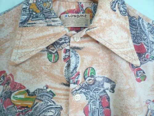 USビンテージ KLONDIKE バイク柄 ネルシャツ / モトクロス 70s 80s OLD モーター系 珍品 レア