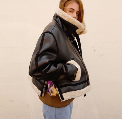 boa design PU leather jacket (o_6)