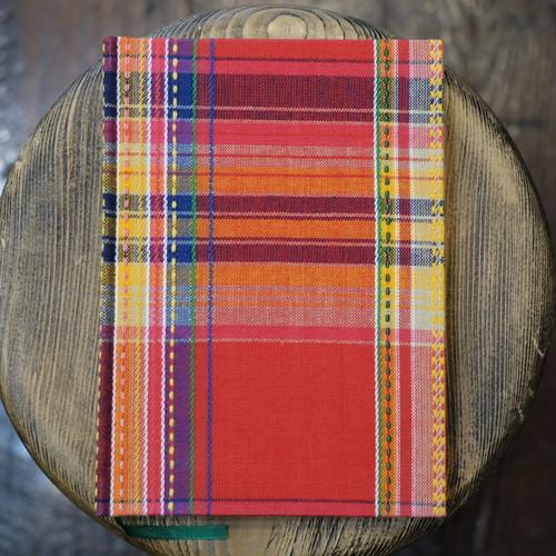罫線 インド製 刺繍マドラスチェック A5Colorisノート ユーティリティサイズ