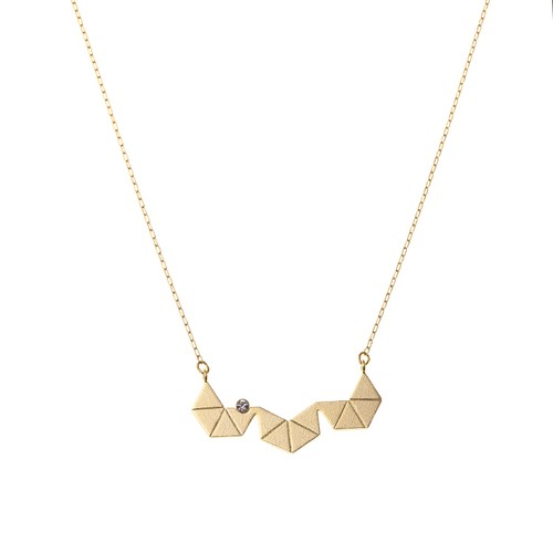 Geometric Triangle Necklace with 1 Stone