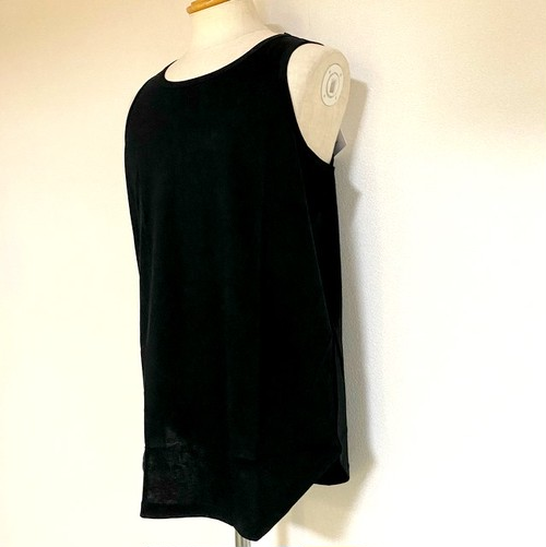 Long Length Tank Top(round model) Black