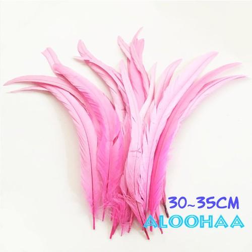 単色ロングフェザー 【ピンク】#30-001PK30-CT 30~35cm タヒチアン 衣装 材料 ルースターテール 染め 羽根