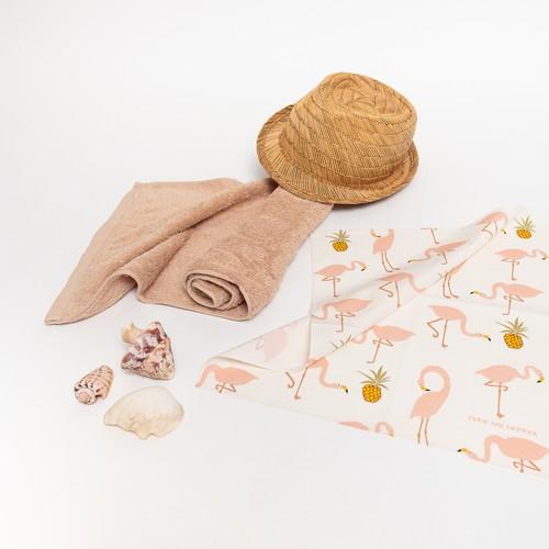 Organic cotton 'Pineapples' Pink&Grey Blue ハンカチ/ポケットチーフ