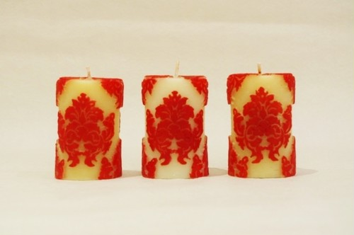 Orchid Votives Set of 3/Red