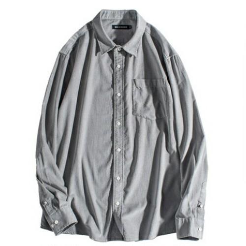 送料無料メンズ/大きいサイズ/白/黒/グレー/シンプル/コットン/長袖ワイシャツ