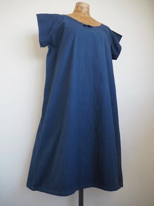 【フランス】 アンティークコットンS/Sワンピース [染物/青藍色]