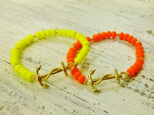 Neon Color ANCHOR Motif Bracelet (FB0567)