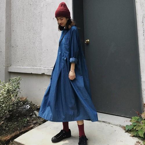 【送料無料】カジュアルなデニム生地♡ ロングワンピース 長袖 体型カバー ゆったり