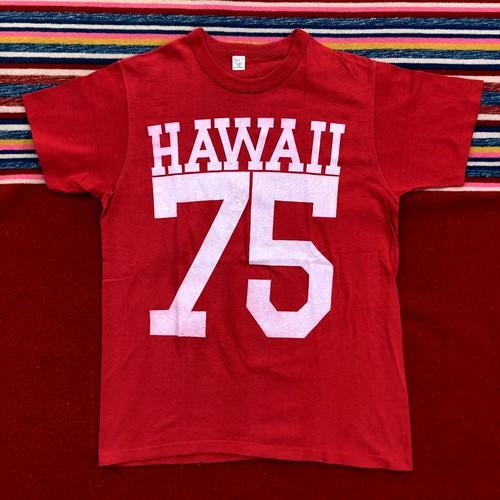 70's Sport-T HAWAII 75 両面ナンバリング Tシャツ(赤,YOUTH XL)