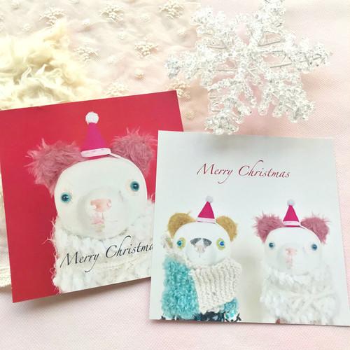 まもりクマくんのクリスマスカード2枚セット