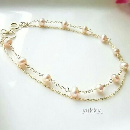 淡水真珠(オレンジ)二連*Bracelet(14Kgf)