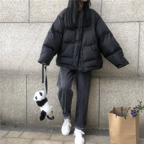 【送料無料】 ボリュームシルエット♡ ノーカラー プルオーバー シンプル カジュアル ダウン ジャケット コート アウター
