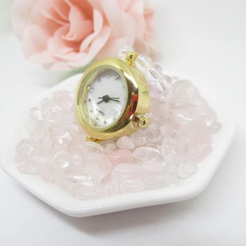 【風水】トイレに置ける時計3点セット(特製水晶ウォッチ本体・6.5cm八角皿・ローズクオーツサザレ)