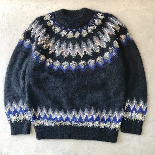 MOHAIR NORDIC KNIT SWEATER BLACK