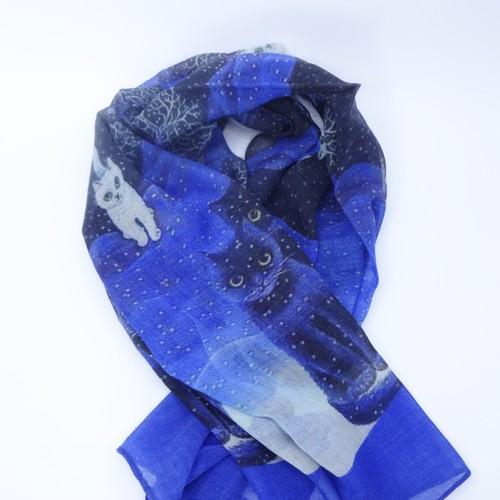 スカーフ ウール シルク ブルー キャット 150605