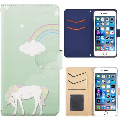 Jenny Desse iPhone 6/6S ケース 手帳型 カバー スタンド機能 カードホルダー グリーン(ホワイトバック)