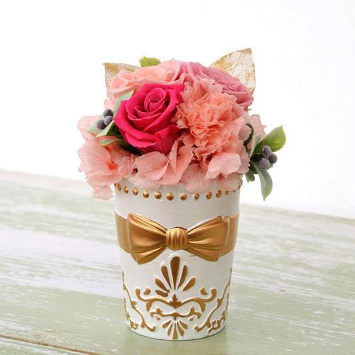 【プレゼントに最適】プリザリボン・ピンク